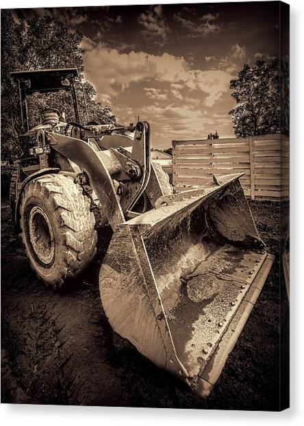 Excavators Canvas Print - Front Loader-3 by Rudy Umans