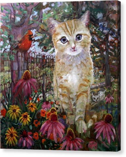 Front Yard Kitty Canvas Print
