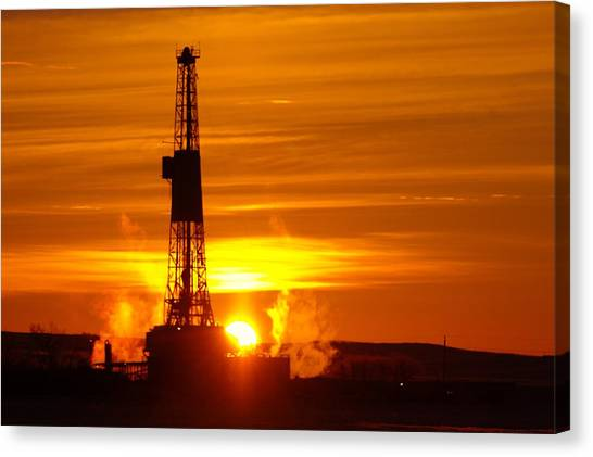 Oil Rigs Canvas Print - Frontier Nineteen Xto Energy Culbertson Montana by Jeff Swan