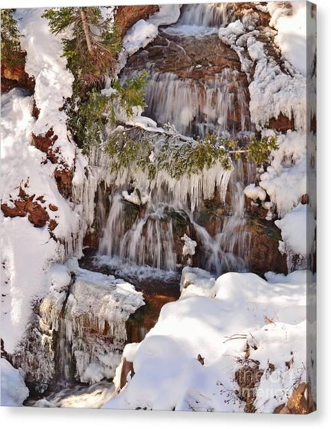 Frosty Cascades Canvas Print