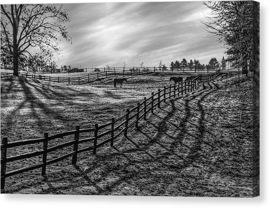Frosty Corral At Dawn Canvas Print