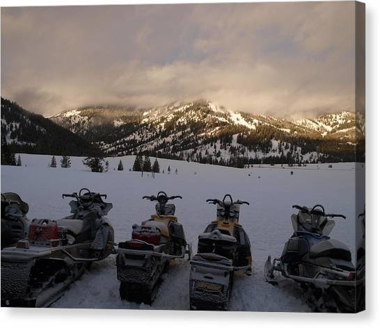 Frosty Snowmobiles Canvas Print