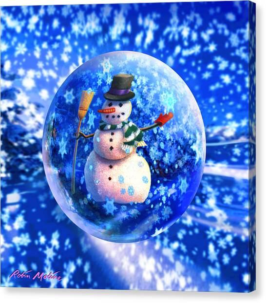 Frosty Canvas Print - Frosty The Snowglobe by Robin Moline