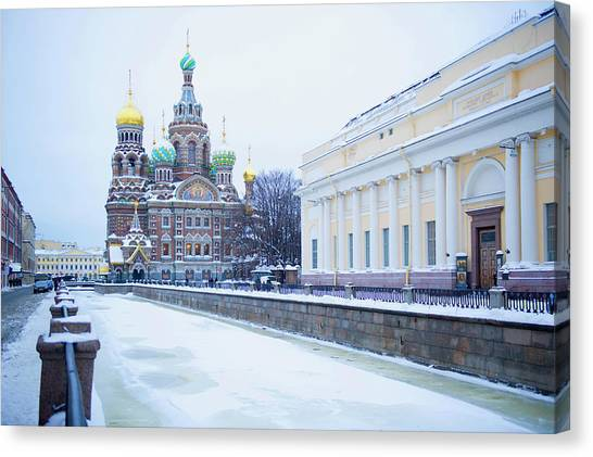 Frozen Canal Near Church Of The Savior Canvas Print by Jacobs Stock Photography Ltd