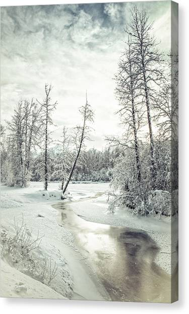Frozen Creek At Sunset Canvas Print