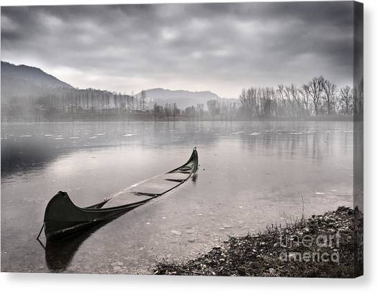 Boat Canvas Print - Frozen Day by Yuri San