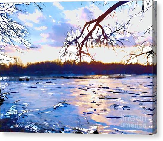 Frozen Delaware River Sunset Canvas Print