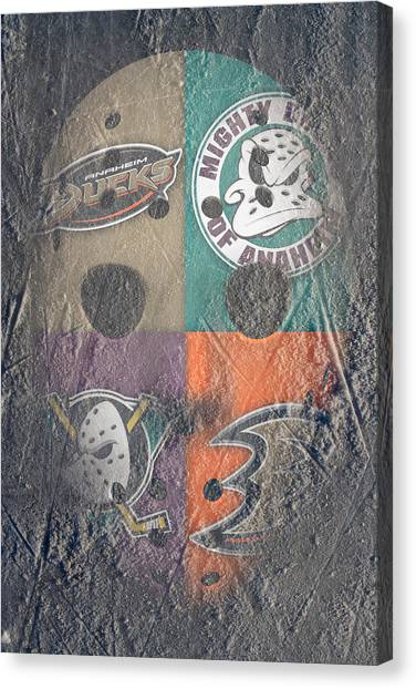 Anaheim Ducks Canvas Print - Frozen Ducks by Joe Hamilton