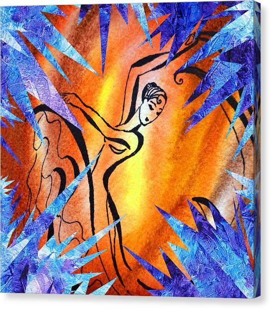 Designing Canvas Print - Frozen Fire Abstract Collage by Irina Sztukowski