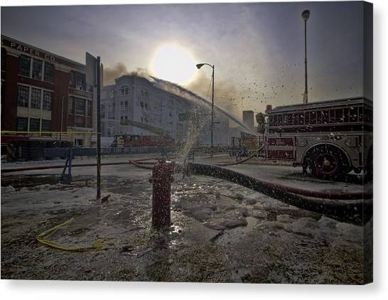 Chicago Fire Canvas Print - Frozen Fire by Sven Brogren