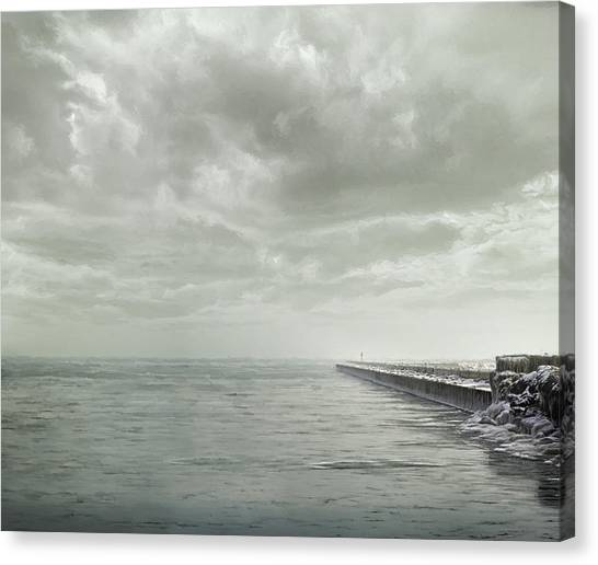Lake Michigan Canvas Print - Frozen Jetty by Scott Norris