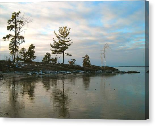 Frozen Lake At Dusk Canvas Print