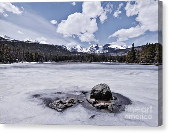 Canvas Print featuring the photograph Frozen Lake by Mae Wertz