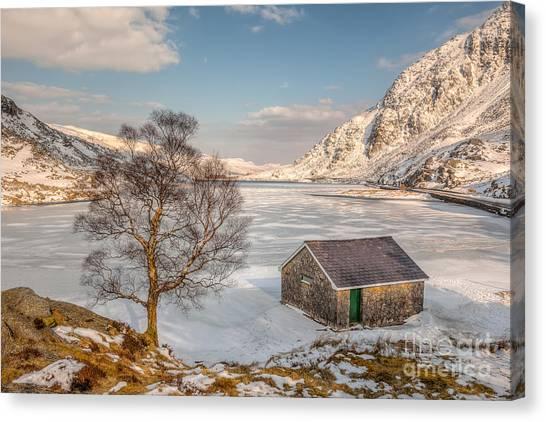 Pen Yr Ole Wen Canvas Print - Frozen Lake Ogwen by Adrian Evans