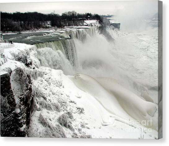Canvas Print featuring the photograph Frozen Niagara And Bridal Veil Falls by Rose Santuci-Sofranko