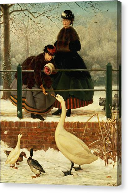 Geese Canvas Print - Frozen Out by George Dunlop Leslie