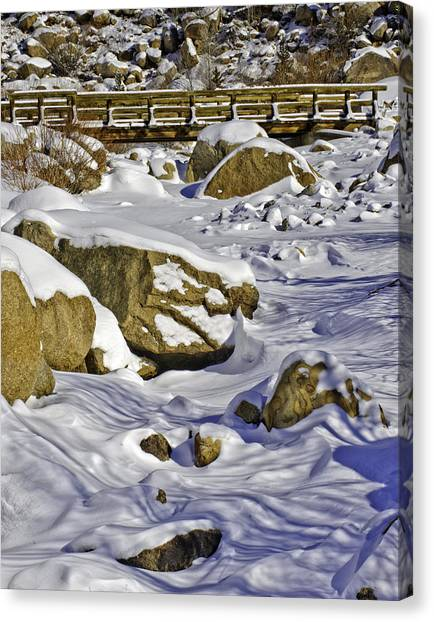 Frozen Roaring River Canvas Print by Tom Wilbert