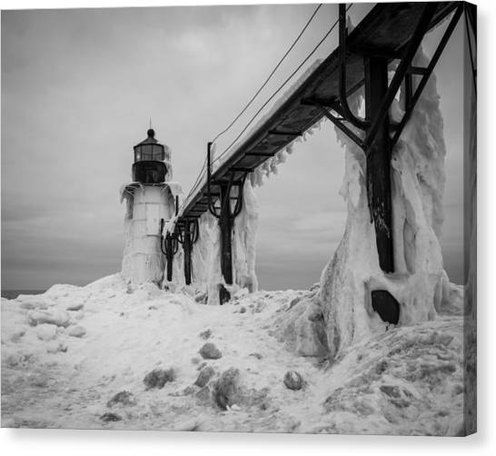 Frozen St. Joseph Lighthouse Canvas Print