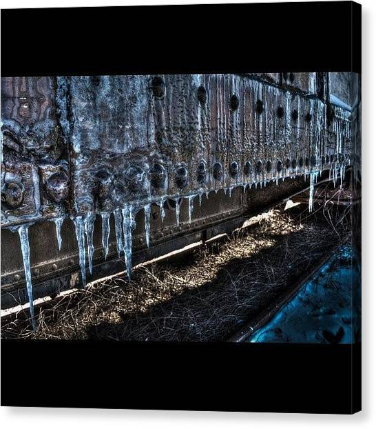 Trainspotting Canvas Print - Frozen Train by David Ferguson