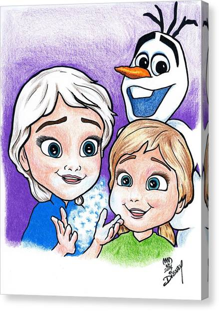 Frozen Young Anna And Young Elsa Canvas Print
