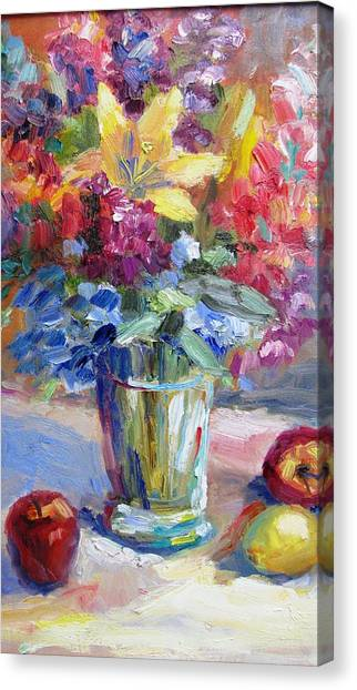 Fruit And Flowers Still Life Canvas Print