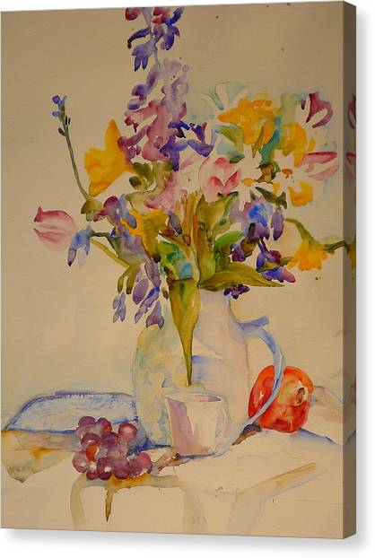 Fruit And Flowers Canvas Print by Valerie Lynch