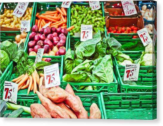 Cabbage Canvas Print - Fruit And Vegetable Stall by Tom Gowanlock