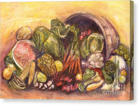 Fruit And Veggie Basket Canvas Print by Jodie  Scheller