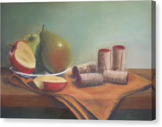 Fruit And Wine Corks Canvas Print by Ellen Minter