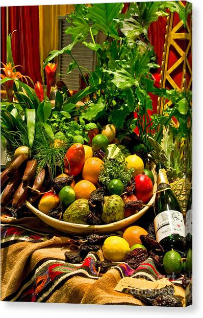 Canvas Print featuring the photograph Fruit And Wine by Mae Wertz