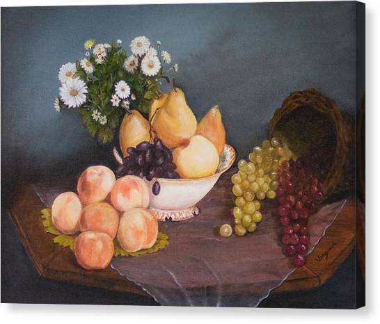 Fruit On Table Canvas Print by Virginia Butler