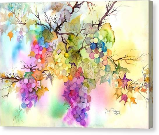 Vine Grapes Canvas Print - Fruit On The Vine by Neela Pushparaj