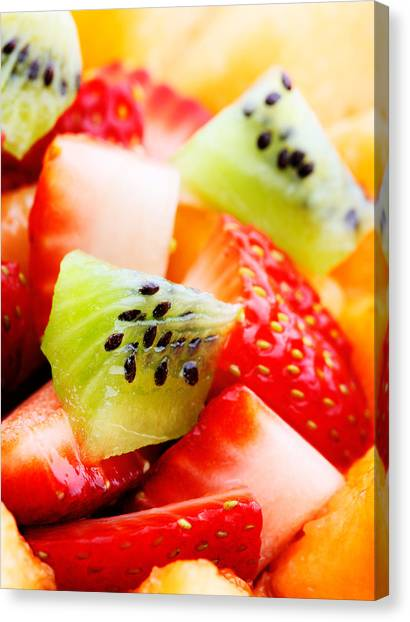 Strawberry Canvas Print - Fruit Salad Macro by Johan Swanepoel