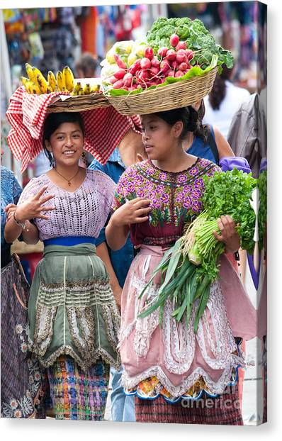 Lettuce Canvas Print - Fruit Sellers In Antigua Guatemala by David Smith