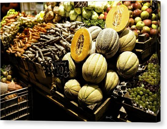 Canteloupes Canvas Print - Fruit Stand by Madeline Ellis