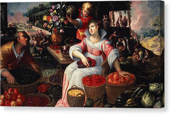 Artichoke Canvas Print - Fruitmarket Summer, 1590 by Frederik Valckenborch