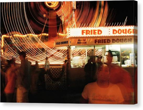 Fryeburg Fair At Night  Fried Dough Canvas Print by John B Poisson