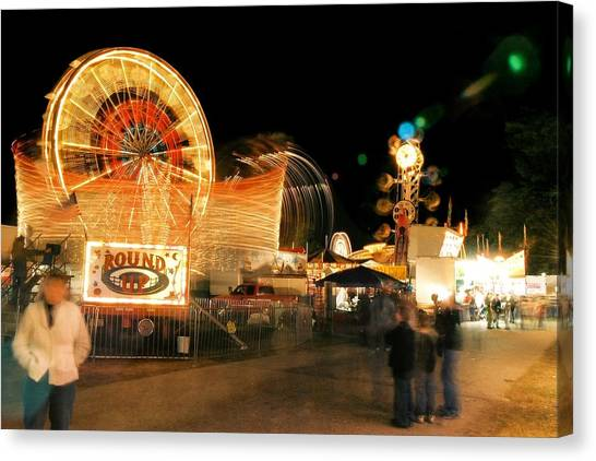 Fryeburg Fair At Night  Watching The Round-up 2 Canvas Print by John B Poisson