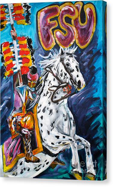 Florida State Fsu Canvas Print - F.s.u. Mascot With Spear by Alan Metzger