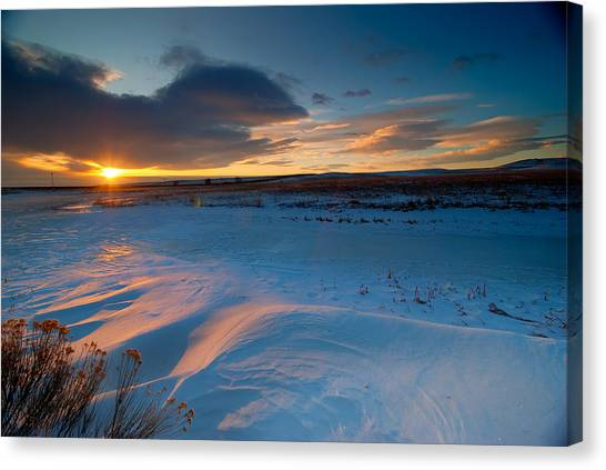 Prairie Sunrises Canvas Print - Ft Collins Snow Sparkles by Preston Broadfoot