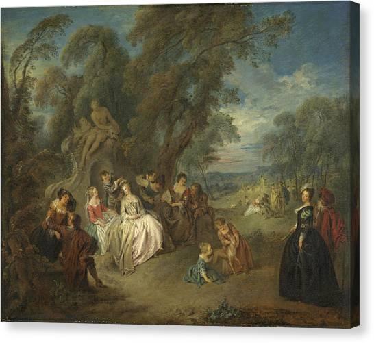 Rococo Art Canvas Print - Fête Champêtre, C. 1730 Oil On Canvas by Jean-Baptiste Joseph Pater