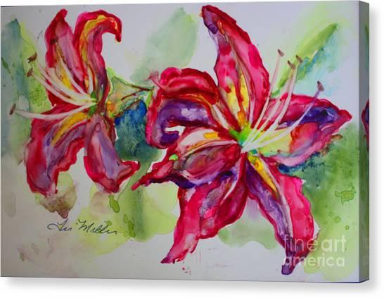 Fuchsia Lilies Canvas Print by Terri Maddin-Miller