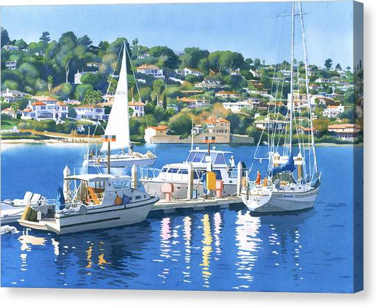 Marinas Canvas Print - Fuel Dock Shelter Island San Diego by Mary Helmreich