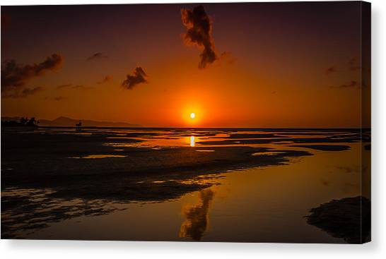Fuerteventuera Beach Sunrise Reflections Canvas Print