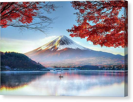 Fuji Mountain In Autumn Canvas Print