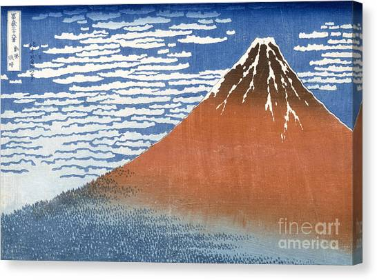 Mount Fuji Canvas Print - Fuji Mountains In Clear Weather by Hokusai