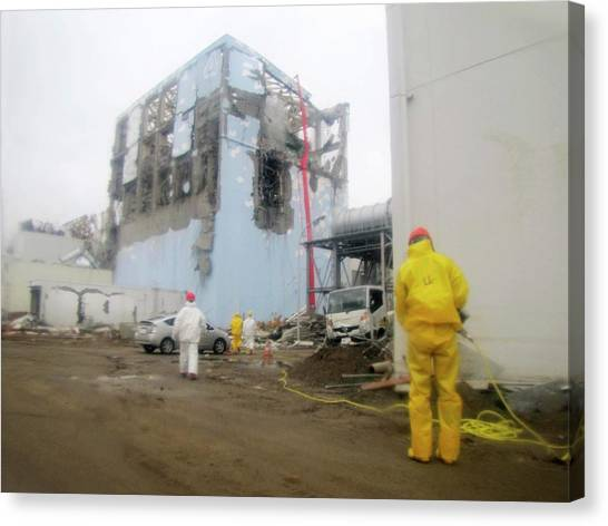 Protective Clothing Canvas Print - Fukushima Nuclear Disaster by Public Health England