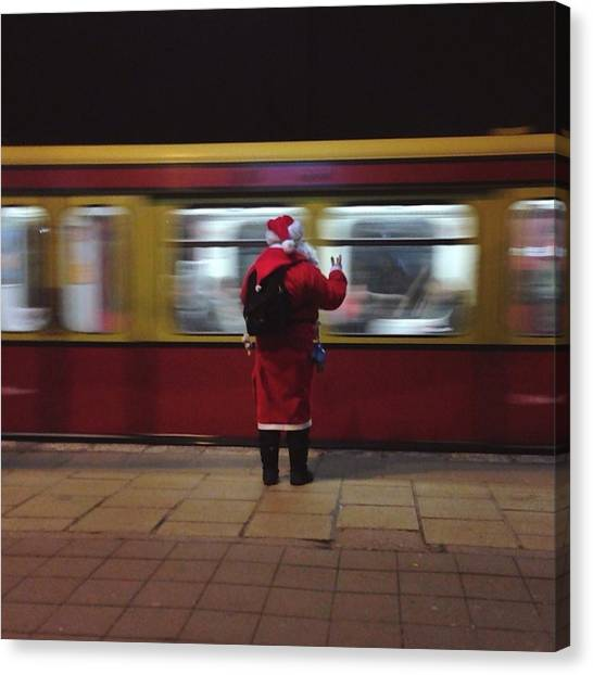 Full Length Rear View Of Man In Santa Canvas Print by Monika Kanokova / Eyeem