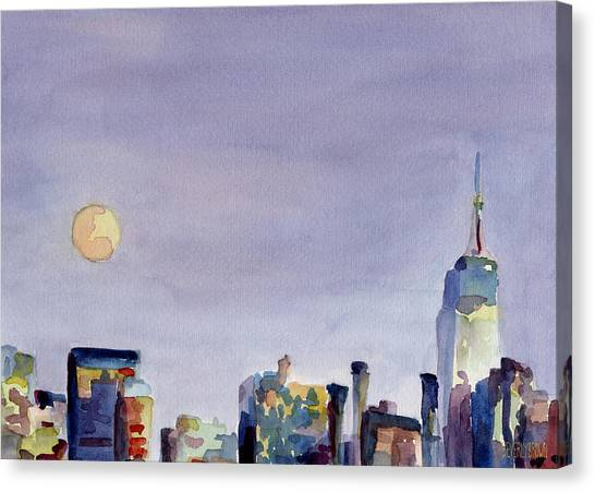 Moon Canvas Print - Full Moon And Empire State Building Watercolor Painting Of Nyc by Beverly Brown Prints