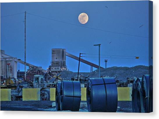 Full Moon And Steel Coils Canvas Print by Al Shields